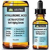 ASUTRA HYALURONIC ACID Anti Aging Serum - ULTRA HYDRATING & EFFECTIVE/With Vitamin E & C, Geranium Oil, Green Tea Extract, Aloe & Jojoba + FREE E-Book (one 1oz bottle)