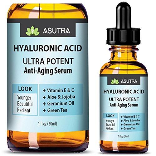 ASUTRA HYALURONIC ACID Anti Aging Serum - ULTRA HYDRATING & EFFECTIVE/With Vitamin E & C, Geranium Oil, Green Tea Extract, Aloe & Jojoba + FREE E-Book (one 1oz ()