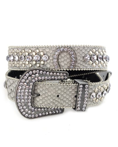 NYFASHION101 Genuine Leather Rhinestone Horseshoe Belt with Iced Out Snap On Buckle, (S/M, Gray) from NYFASHION101