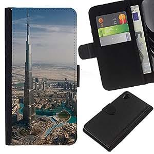 KLONGSHOP // Tirón de la caja Cartera de cuero con ranuras para tarjetas - Arquitectura Burj Dubai el edificio más alto de Dubai - Sony Xperia Z2 D6502 //