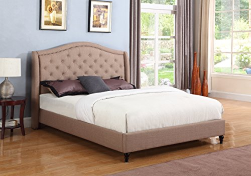 """Home Brown Linen Diamond and Nailed Headboard 53"""" Headboard Platform Queen - Complete 5 Year Included 013"""