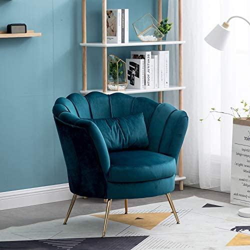 Velvet Upholstered Living Room Chair Club Chair Petal Leisure Accent Barrel Dining Chair Single Sofa Seat