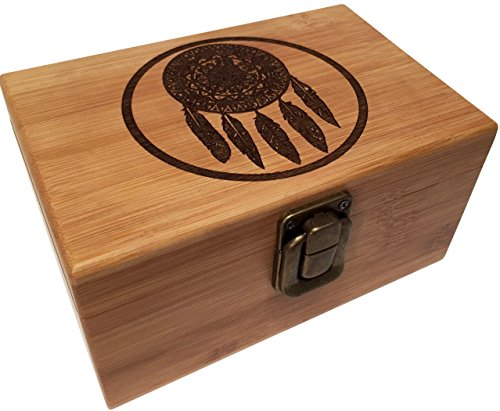 Dreamcatcher Stash Box with Metal Latch Decorative Wooden Boxes Premium Quality Bamboo Swag Box Medium Size for Jewelry Collectibles Treasures and More!(Dreamcatcher) (Jewellery Big Box)