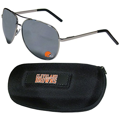 - NFL Cleveland Browns Aviator Sunglasses & Zippered Carrying Case