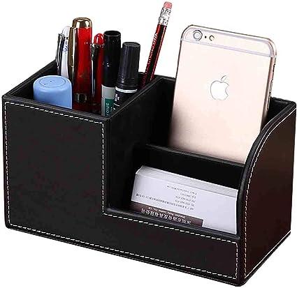 Portalápices de piel, tarjetero, caja de papelería de escritorio, caja de almacenamiento, soporte para bolígrafos multifunción, caja de almacenamiento estarionaria, color negro: Amazon.es: Oficina y papelería