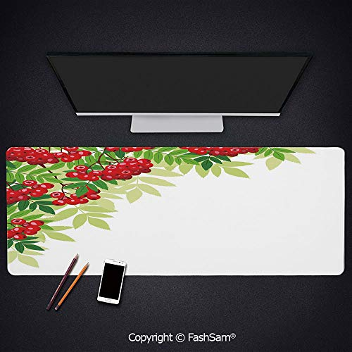 Desk Gaming Mouse Pad Non-Slip Bunch of Ripe Berries with Fresh Green Leafage Corner Design Keyboard Pad for Computer(W23.6xL15.7)