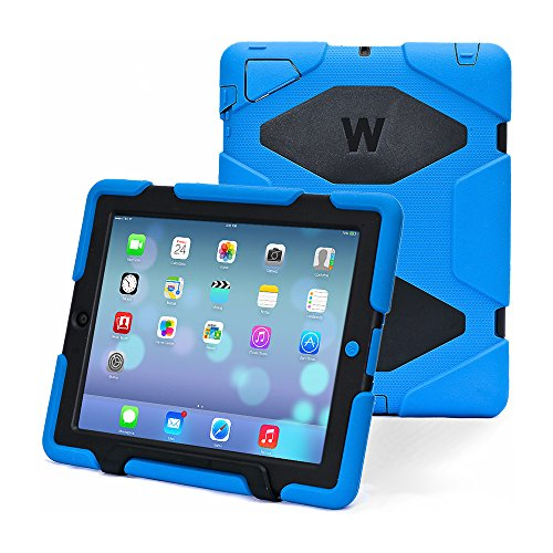 KIDSPR 5766062 Super Protect Shockproof and Rainproof Case with Built-in Screen Protector for Apple iPad 2/3/4, 2015 - Blue/Black