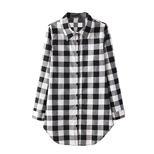 Rcool Top de la Blusa de la Camisa de Tela Escocesa Tartán del Algodón de la Manga Larga Floja de la Señora de las Mujeres Negro + Blanco