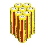 WolfonFire 8PCS Flashlight Headlamp Rechargeable Batteries 18650 lithium 5000mAh 3.7V Button Top