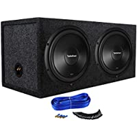 2) ROCKFORD FOSGATE R2D4-12 12 1000W 4-Ohm Car Subwoofers + Dual Vented Sub Box