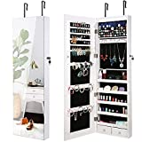 AOOU Jewelry Organizer Jewelry Cabinet, 6 LEDs Lockable Wall Door Mounted Jewelry Armoire with Full Length Large Mirror, Large Capacity Makeup Jewelry Armoire Organizer 2 Drawers Earring Board