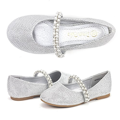 Dream Pairs Little Kid Serena-100-Silver Glitter Girl's Mary Jane Ballerina Flat Shoes - 13 M US Little - Silver Flat