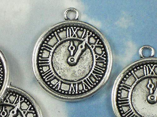 Lot 5 Pocket Watch Charms Timepiece Clock Face Antiqued Silver Tone Pendants Vintage Crafting Pendant Jewelry Making Supplies - DIY Necklace Bracelet Accessories CharmingSS ()