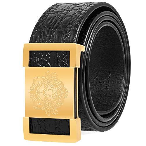 Martino Men Belt Black Leather Belt Crocodile Textured Cowhide Belts for Men Lion Buckle With a Meticulous Workmanship Gift Box - Crocodile Textured Leather Belt