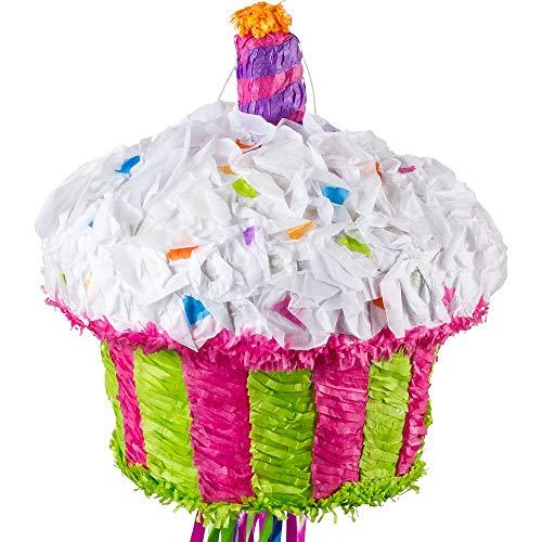Ya Otta Pinata Pull String Birthday Cupcake Pinata, Birthday Party Activities, 2lb Filler Capacity, 10 x 12 Inches (Pull String Pinata Cupcake)