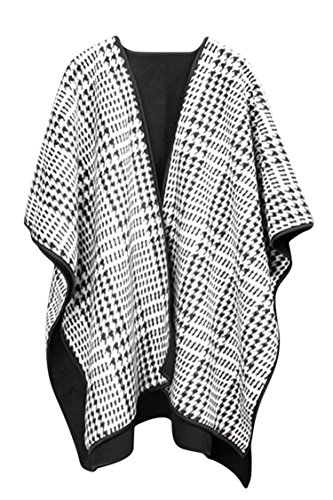 VamJump Women Winter Cashmere Oversized Blanket Poncho Cape Shawl Cardigan Coat, White-214 (Fashion Poncho)