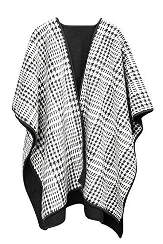 VamJump Women Winter Cashmere Oversized Blanket Poncho Cape Shawl Cardigan Coat, White-214 ,onesize by VamJump