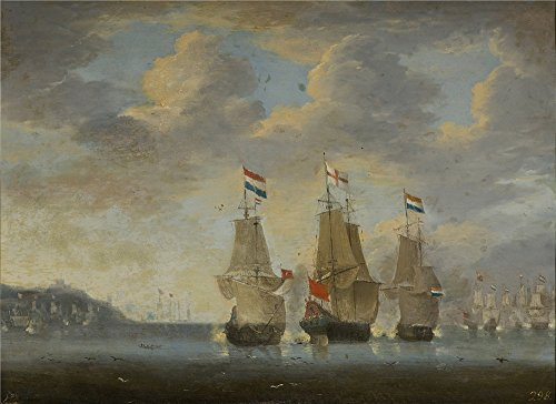 'Anonymous Combate Naval 1660 70 ' Oil Painting, 20 X 28 Inch / 51 X 70 Cm ,printed On High Quality Polyster Canvas ,this Beautiful Art Decorative Canvas Prints Is Perfectly Suitalbe For Powder Room Gallery Art And Home Gallery Art And Gifts