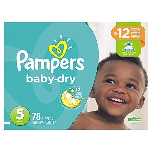 Pampers Baby Dry Diapers Size 5, Super Pack, 78 Count (Packaging May Vary)