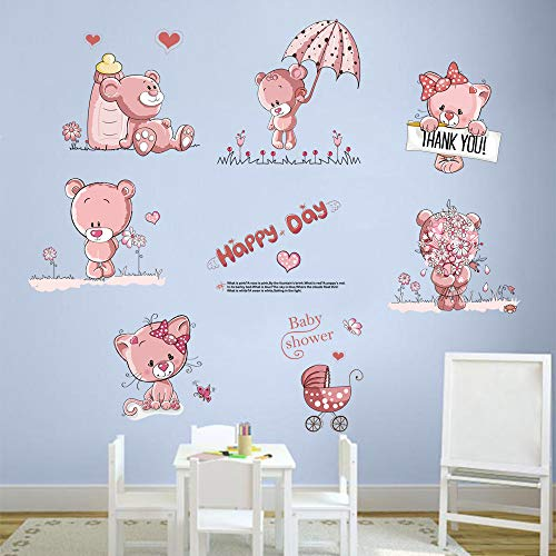 decalmile Pink Teddy Bear Flowers Wall Decals Removable Cartoon Baby Room Wall Stickers Girls Room Baby Nursery Kids Bedroom Decor (6 Bears, Each Size: 30X25cm)