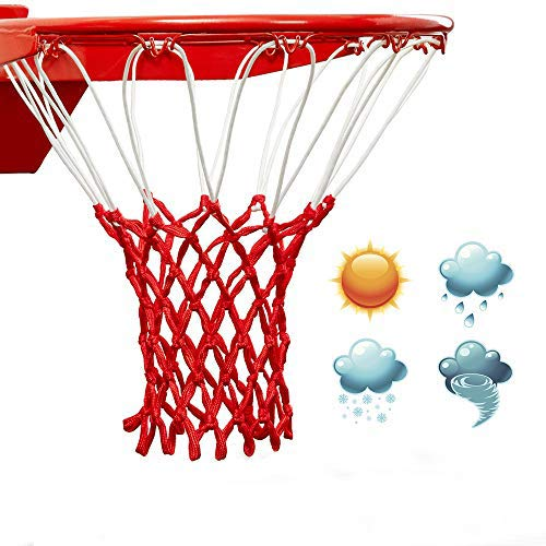 Red&White Professional standard size Premium Quality Professional Heavy Duty Basketball Net Replacement  All Weather Anti Whip,Fits Standard Indoor or Outdoor 12 Loops Rims12 Loops