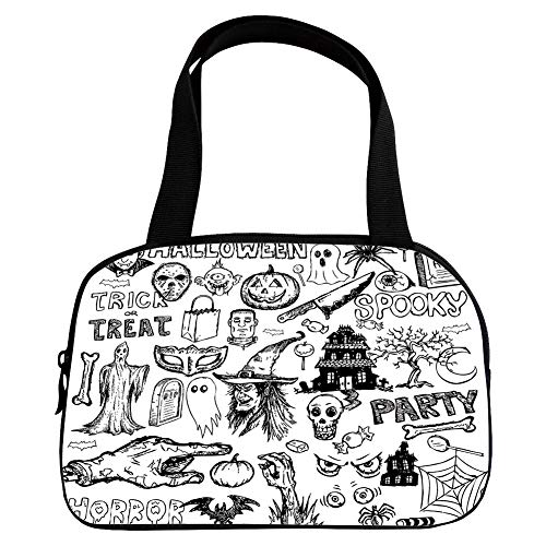Polychromatic Optional Small Handbag Pink,Vintage Halloween,Hand Drawn Halloween Doodle Trick or Treat Knife Party Severed Hand Decorative,Black White,for Girls,Print Design.6.3