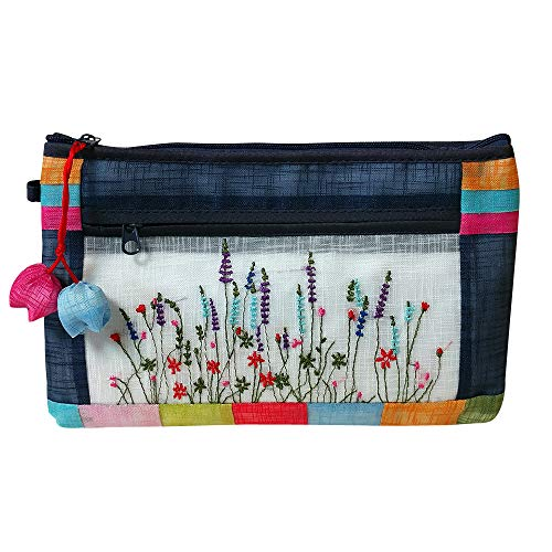 (Antique Alive Embroidery Wild Flower Portable Travel Multifunction Faux Ramie Fabric Cosmetic Toiletry Pouch Case Zipper Clutch Bag Makeup Organizer Holder (Blue))