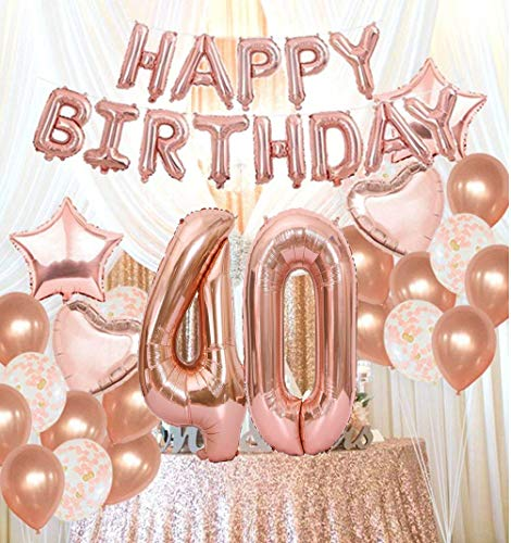 40th Birthday Decorations Party Supplies40th Balloons Rose GoldRose Gold Hang Happy Alphabet