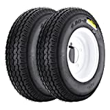 QD-712 Trailer Tires, 4.80-8 6 Ply Load C On White Rims 4 Lug/ 4'' Set of 2 for Boat Trailer