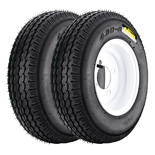 QD-712 Trailer Tires 4.80-8 6 Ply Load C On White Rims 4 Lug/ 4