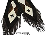 Cowhide Black Star & White Western Table Runner - Handmade - 8ft - Patchwork - HOH