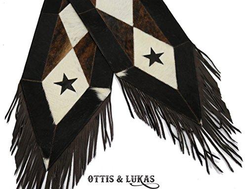 Cowhide Black Star & White Western Table Runner - Handmade - 8ft - Patchwork - HOH by Ottis & Lukas