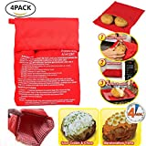 Microwave Potato Cooker Bag,Microwave Baking Bag,Microwave Potato Cooker Pocket Potato Pouch Cooker,Washable and Reusable Perfect Potatoes Just in 4 Minutes!(Pack of 4)