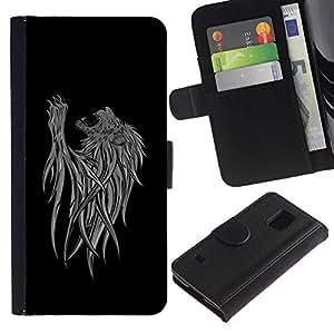 Billetera de Cuero Caso Titular de la tarjeta Carcasa Funda para Samsung Galaxy S5 V SM-G900 / Abstract Lion Art / STRONG