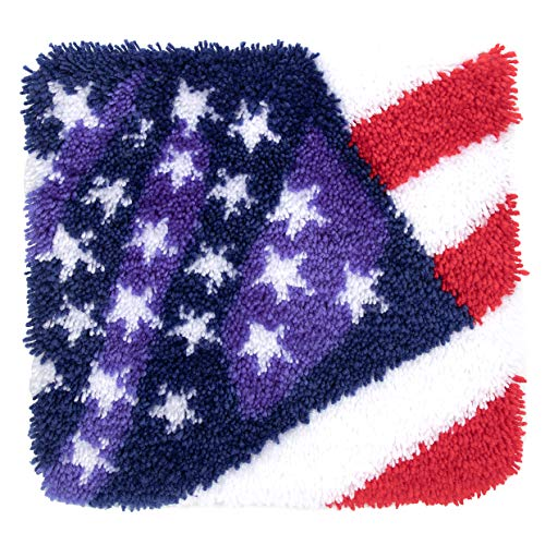 Beyond Your Thoughts Latch Hook Kits for DIY Throw Rug Carpet Star Stripe with USA Flag with Pattern Printed 16X16 inch, Crochet Needlework Crafts for Kids and Adults