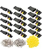 FULARR 15 Set Professional Car Auto Waterproof Electrical Wire Connectors Terminal Plug Socket Kit, for Motorcycle Auto Truck Boat (2 Pin 5 Set, 3 Pin 5 Set, 4 Pin 5 Set)