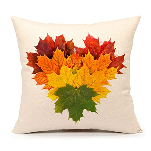 4TH Emotion Autumn Leaves Fall Thanksgiving Home Decor Throw Pillow Cover Cushion Case 18 x 18 Inch Cotton Linen for Sofa (Yellow ()