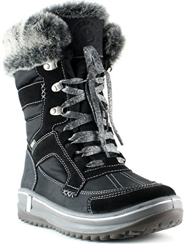 Santana Canada Premium Women's Waterproof Cold Weather Marta Mid-Cut Boot with Luxe Fur Trim Black Size - Italian Boots Thermal