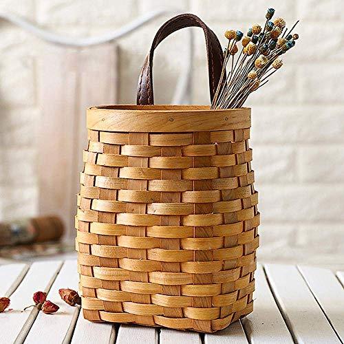 Idyllic Hand-Woven Wooden Basket With Leather Handle, Desktop Fruit Snack Storage Basket, Door Knob Hanging Basket for Flower Vegetable Fruit Snack ()