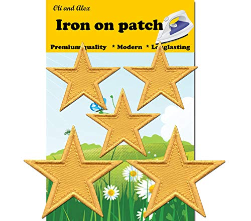 Iron On Patches - Yellow Star Patch 5 pcs Iron On Patch Embroidered Applique - Yellow Patches Star