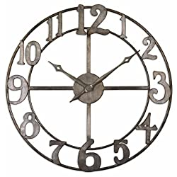 Delevan Large Wall Quartz Clock 34 Openwork Design Hand Forged Metal Finished Oversize