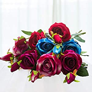 8Pcs Artificial Silk Rose Flower Real Touch Floral Decorations DIY for Home Office Wedding Bouquet Birthday Hotel Garden Party 6