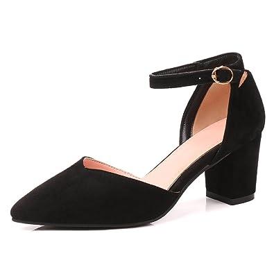 94dd9fb38724eb OALEEN Escarpins Sexy Femme Bout Pointu Suède Bride Cheville Talon Bloc  Moyen Sandale Chaussures Soirée