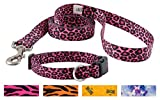 Country Brook Design Pink Leopard Deluxe Collar & Leash - Large