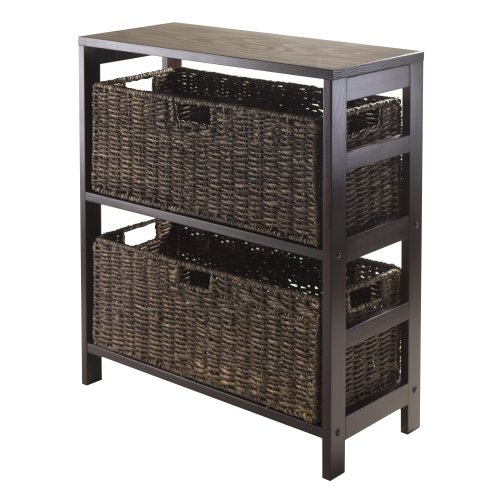 Winsome Granville 3-Piece Storage Shelf with 2 Large Baskets Espresso