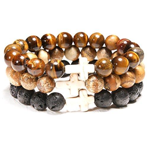 MOON GIRL 10MM Jasper Amazonite Stone Women Bracelets Cross Lava Stone Men Diffuser Chakra Bracelet