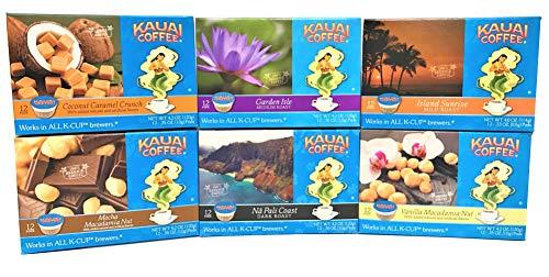 Kauai Coffee Variety Pack of 6, 12 Single Serve Pods, 1 Coconut Caramel Crunch, 1 Garden Isle, 1 Island Sunrise, 1 Mocha Macadamia Nut, 1 Na Pali Coast and 1 Vanilla Macadamia Nut (72 Count)
