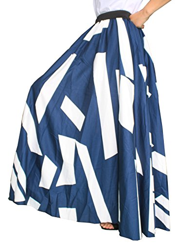 Gros Bleu Femmes Ourlet Marine Mopping Longueur Maxi Plage Solide Mousseline Taille Sol Haute Afibi Jupe YXRdq6q