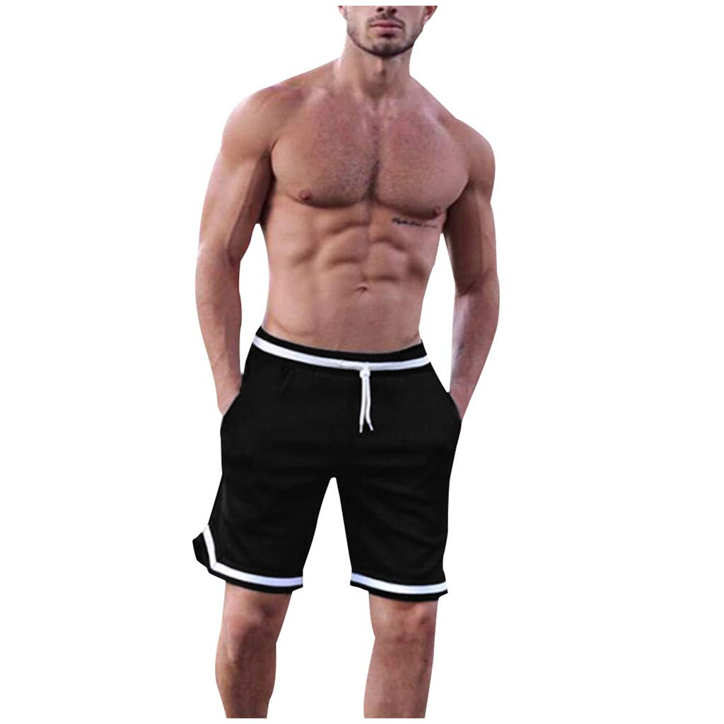 Men's Workout Jogger Shorts | Mens Relaxed Straight Fit Bodybuilding Athletic Running Pants | Casual Side Striped Drawstring Pants