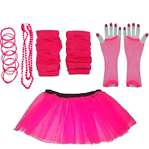 Plus Size 16-24 - Neon Tutu Skirt, Fishnet Gloves, Legwarmers, Beads & Bangles - ideal for 80s parties, fun runs, hen nights etc.